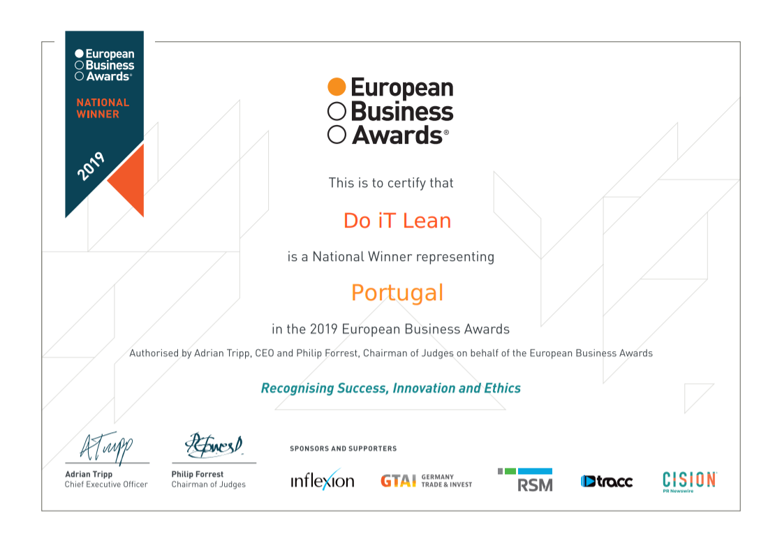 "Do iT Lean was recognized by European Business Awards as the National Winner in the ""Growth Strategy of the Year"" category"